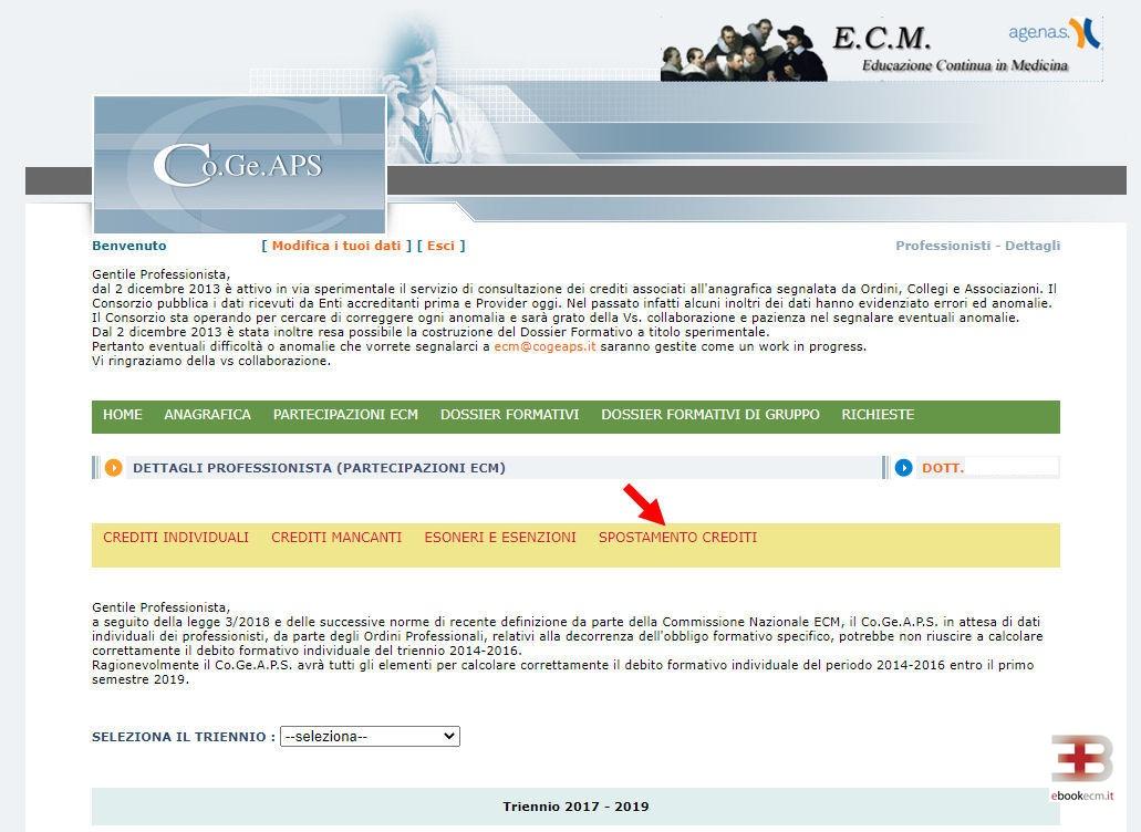 Recuperare 300 crediti Cogeaps - passo 5 - ebookecm